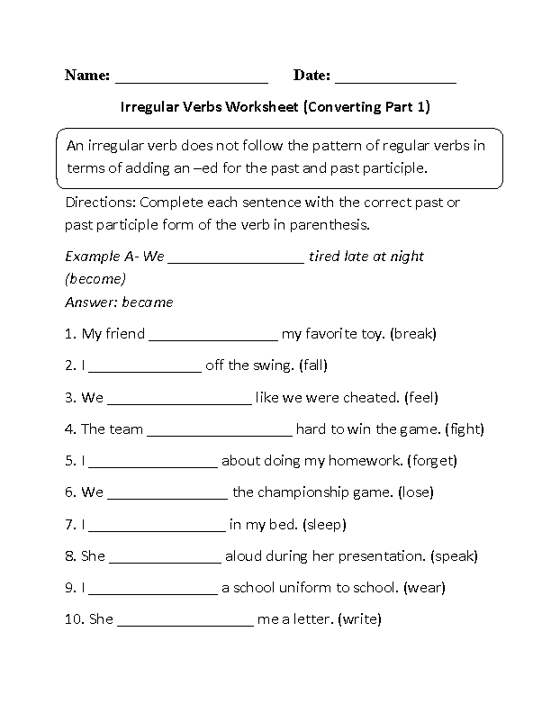 {Verbs Worksheets – Irregular Past Tense Verbs Worksheet