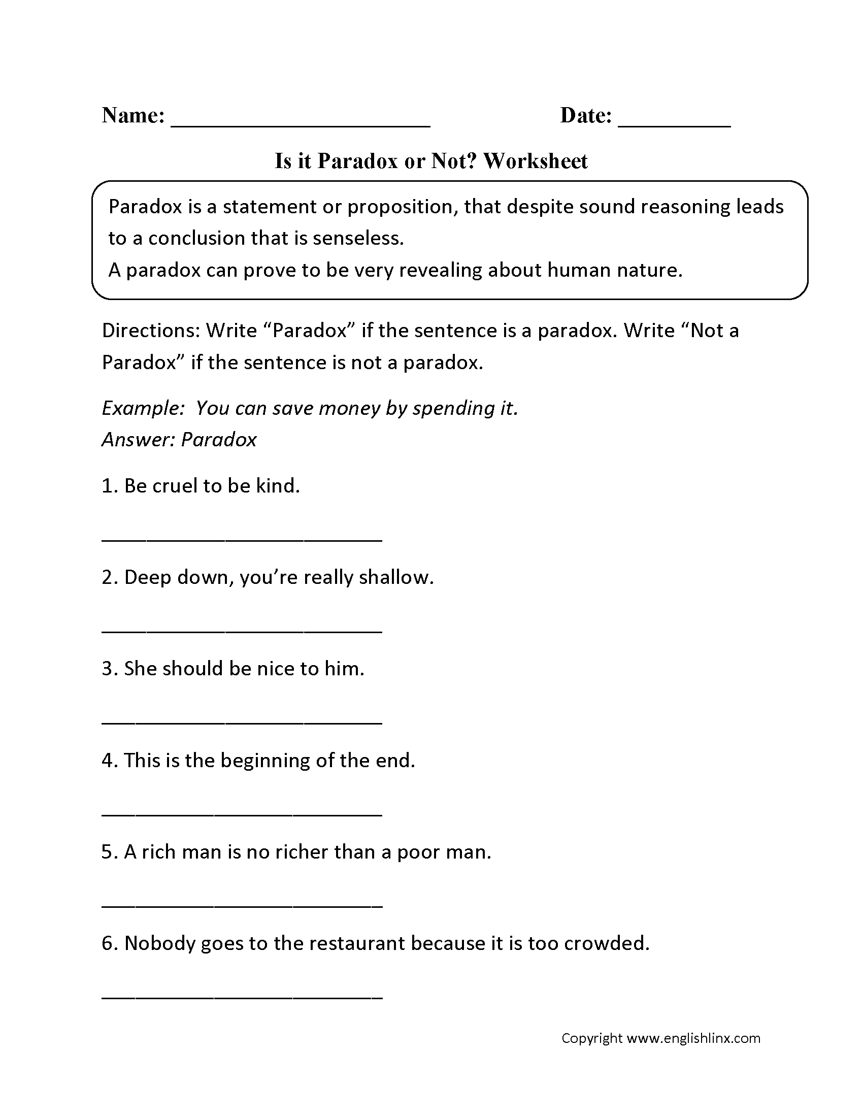 Figurative Language Worksheets Paradox Worksheets