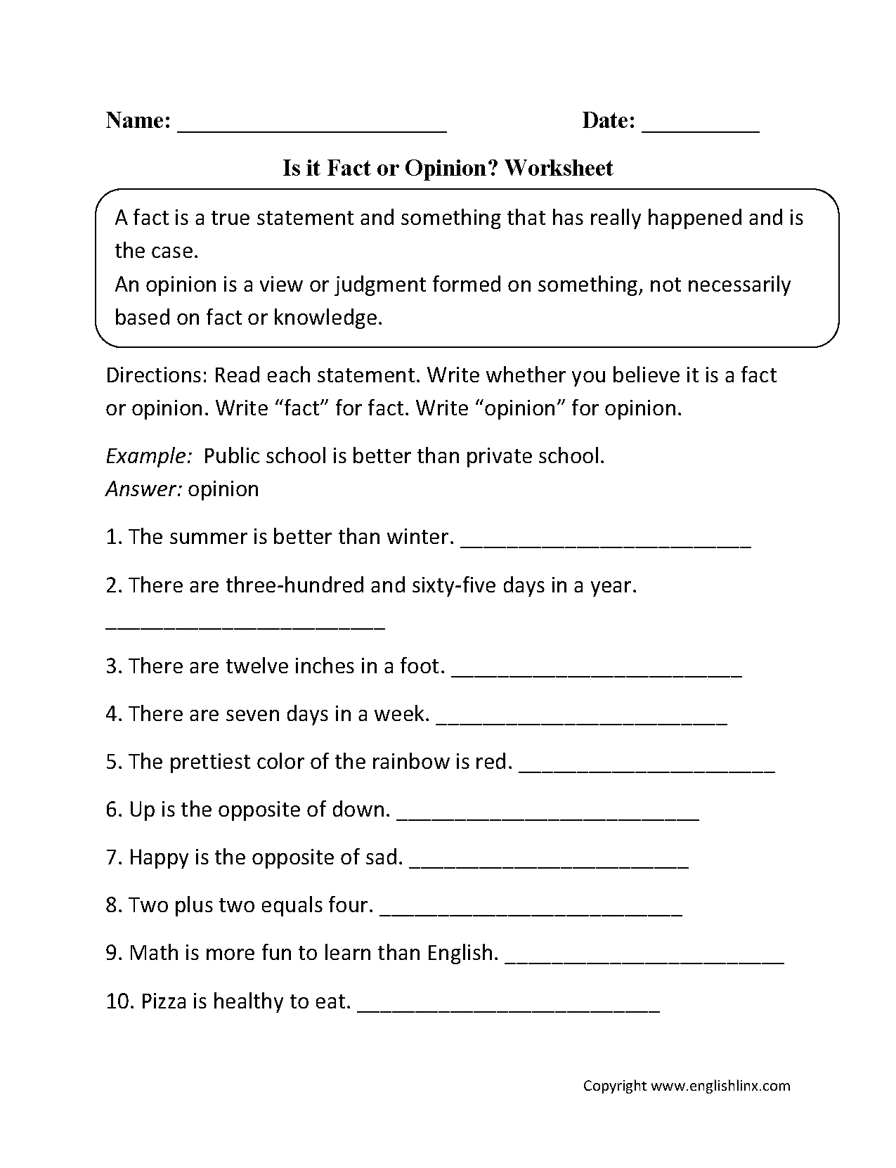 Reading Worksheets – Fact Vs Opinion Worksheets