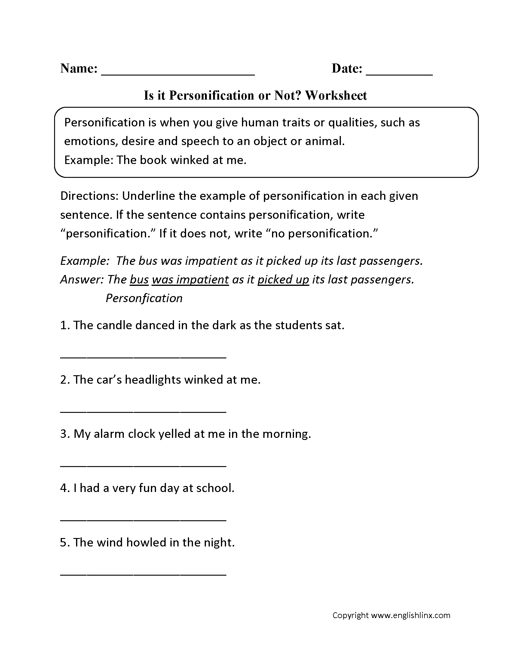 figurative language worksheets personification worksheets is it personification or not worksheet