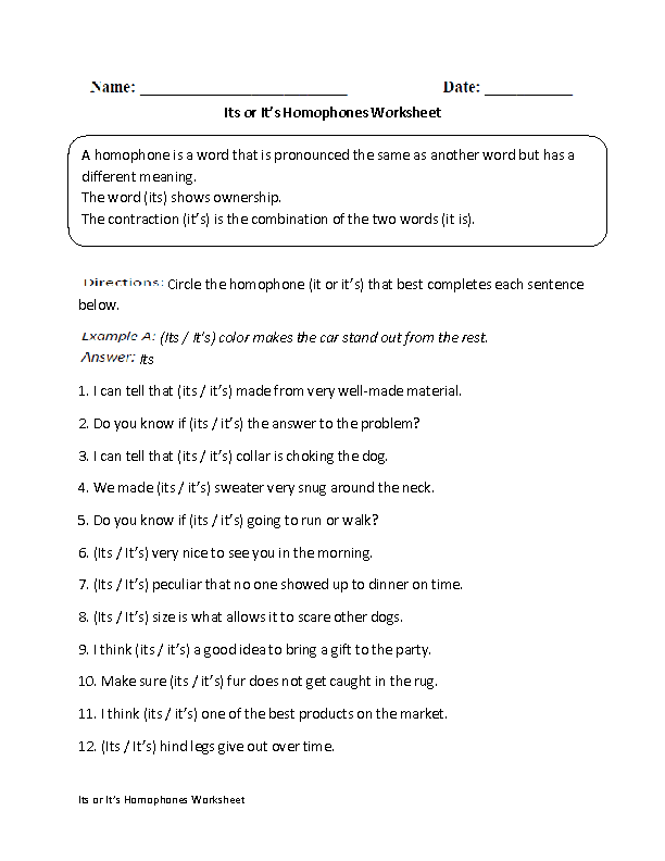 Its or It's Homophones Worksheet