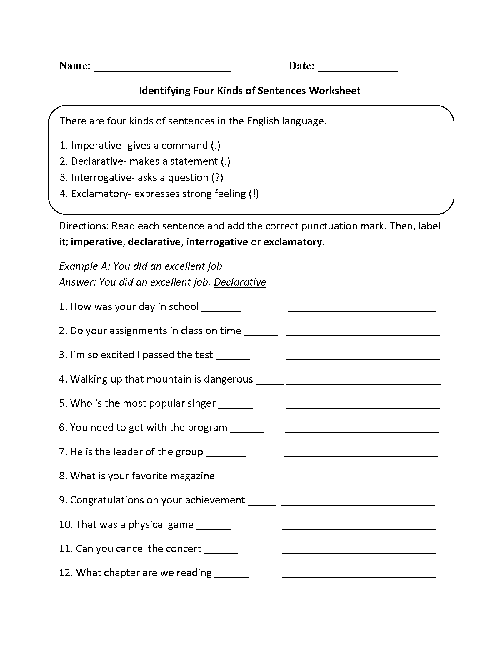 ... of Sentences Worksheets | Practicing Four Kinds of Sentences Worksheet