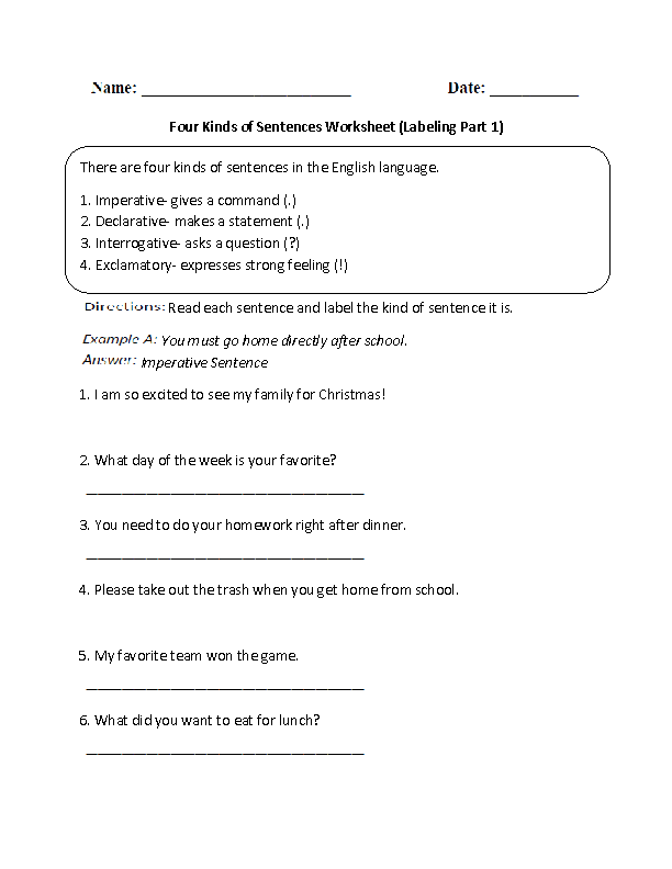 Printables Four Kinds Of Sentences Worksheets sentences worksheets kinds of four worksheet