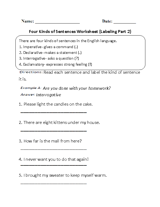 Printables Four Kinds Of Sentences Worksheets sentences worksheets kinds of worksheet