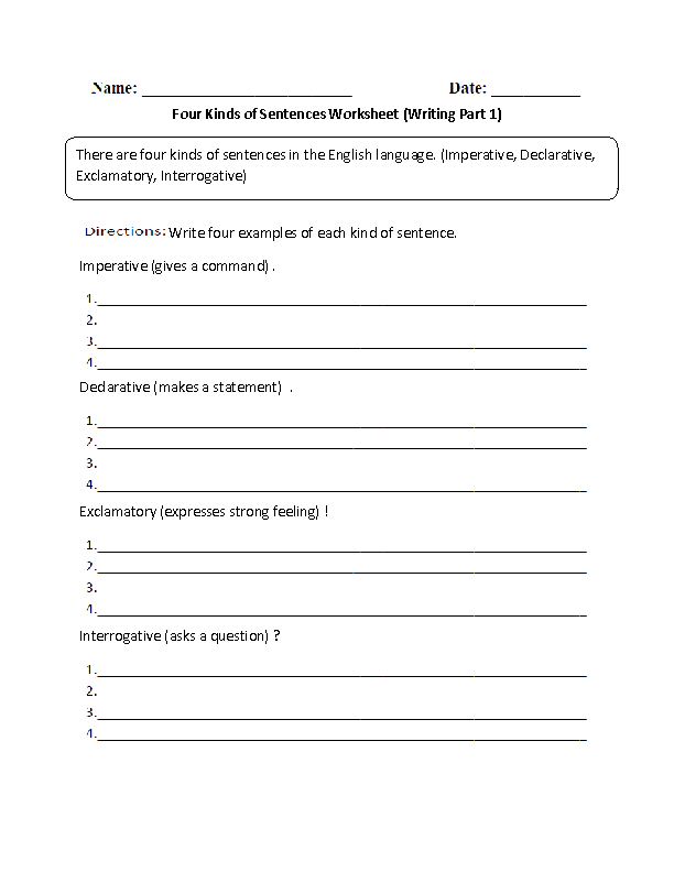 Sentences Worksheets – 4 Types of Sentences Worksheet