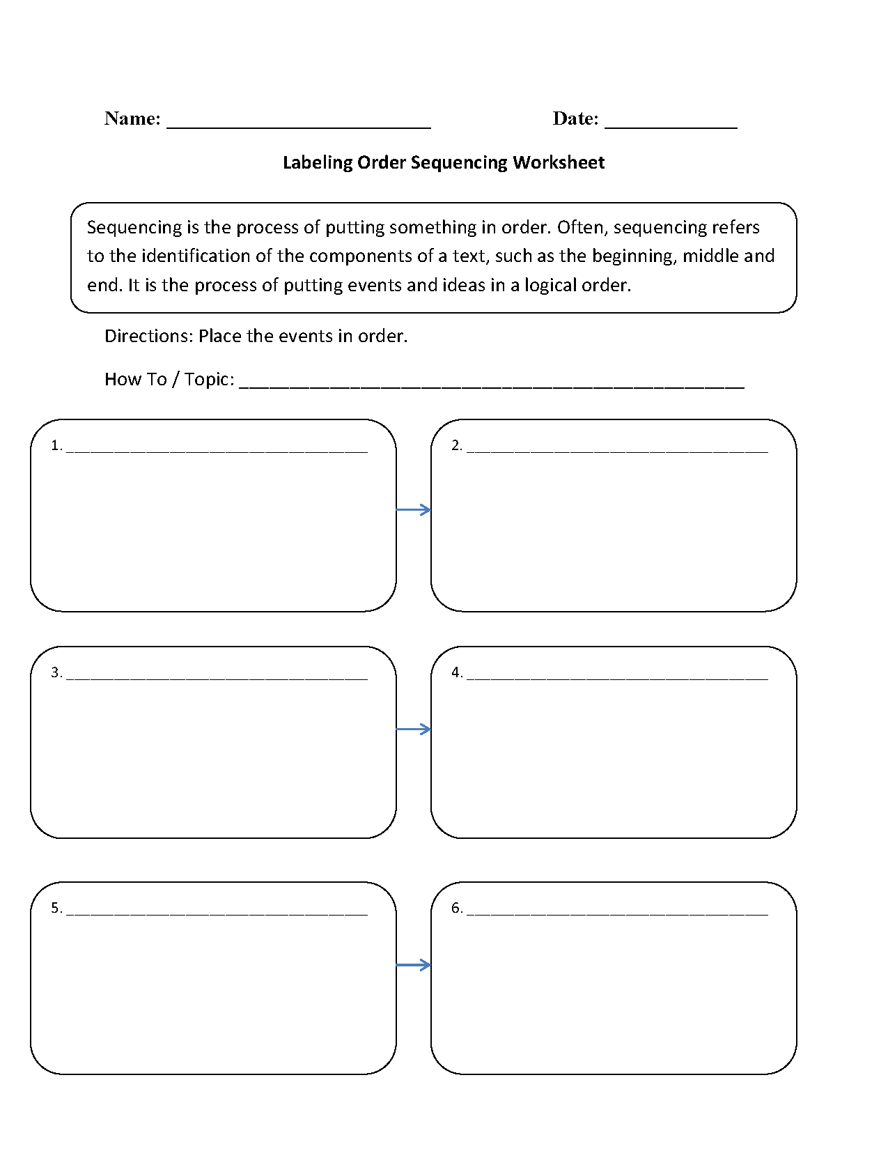 Writing Worksheets – Sequencing Worksheets