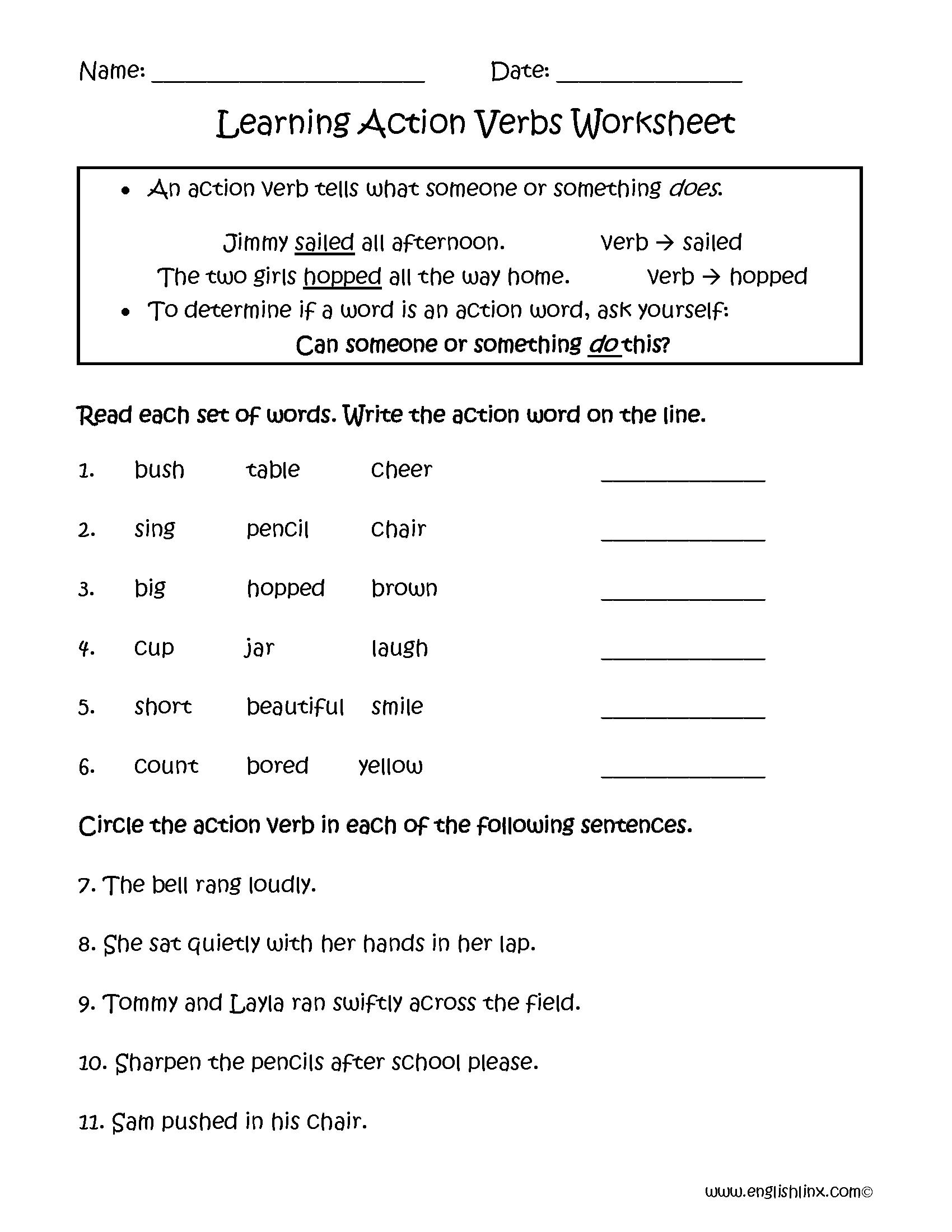 Verbs Worksheets Action Verbs Worksheets [ 2200 x 1700 Pixel ]
