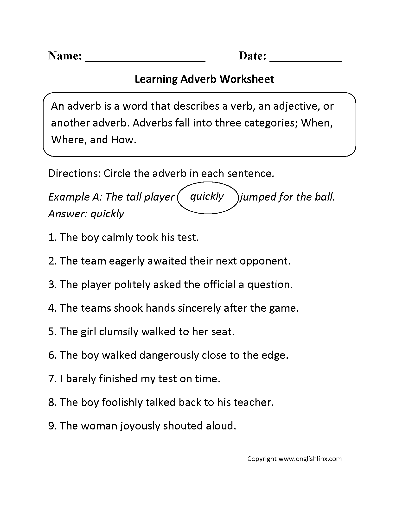 Worksheets Adverb Worksheets 5th Grade parts speech worksheets adverb learning worksheets