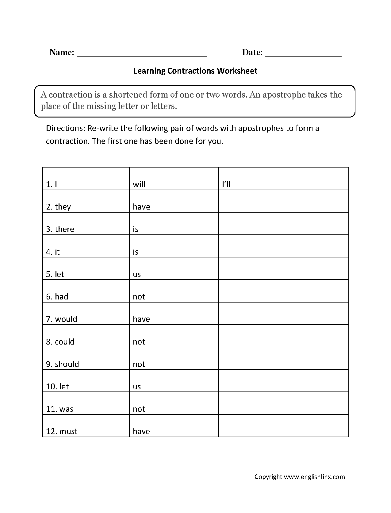 Learning Contractions Worksheets
