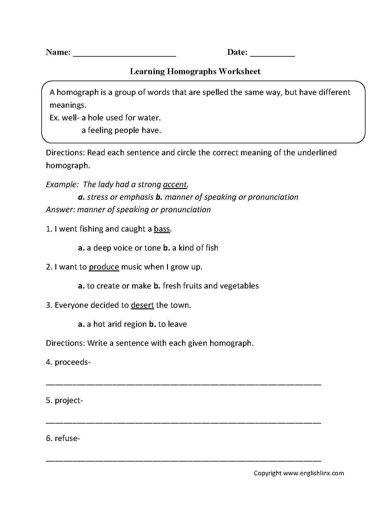 Worksheets Third Grade Vocabulary Worksheets vocabulary worksheets homograph worksheets