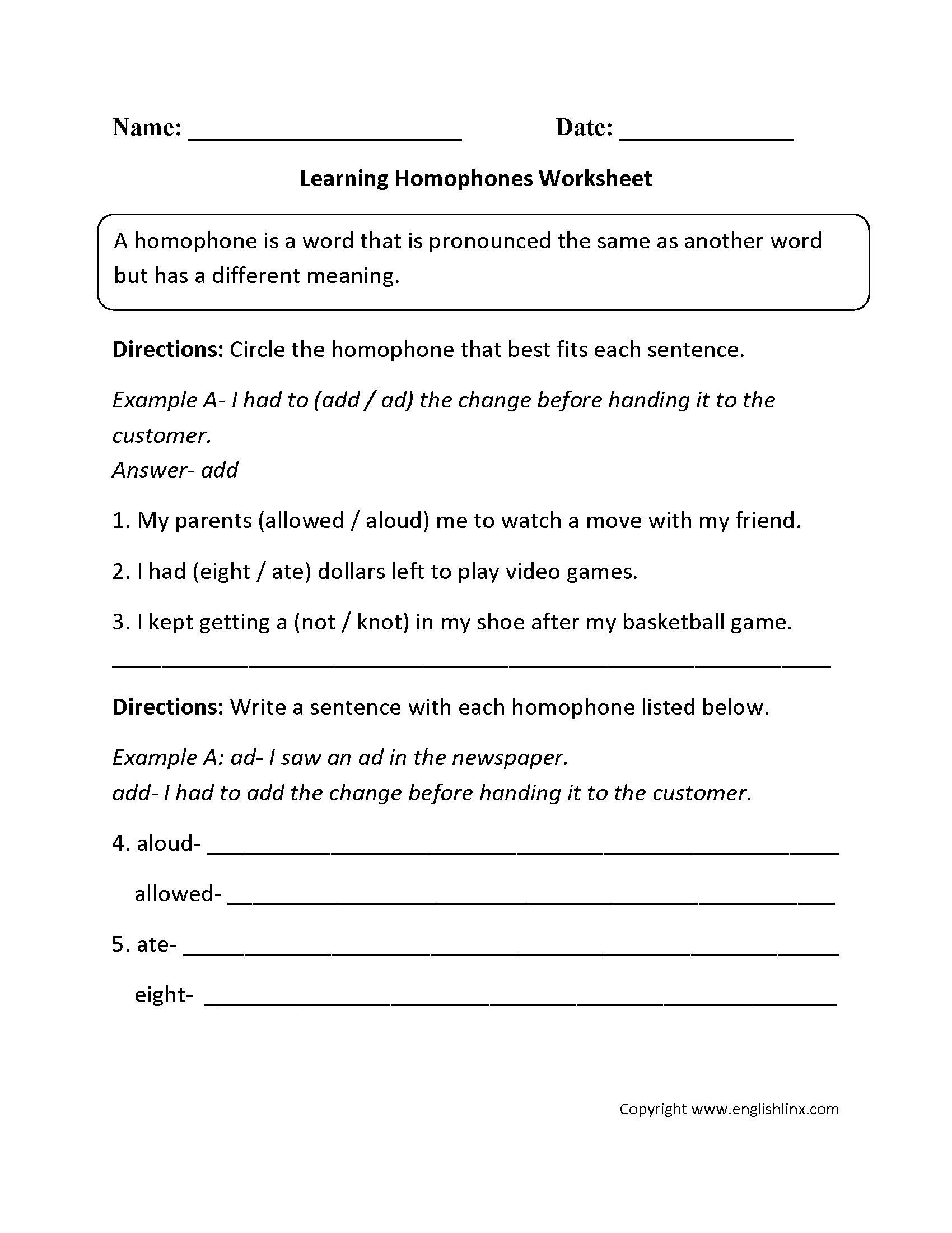 Vocabulary Worksheets – Homophone Worksheet