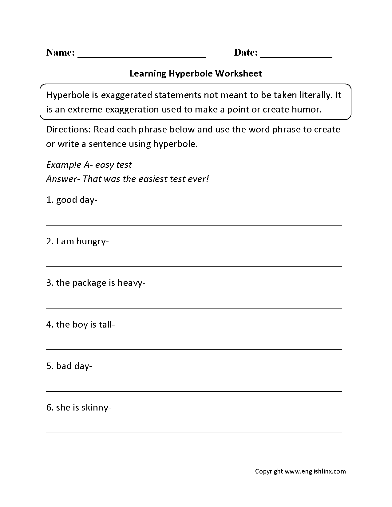 Worksheets Hyperbole Worksheets figurative language worksheets hyperbole worksheets