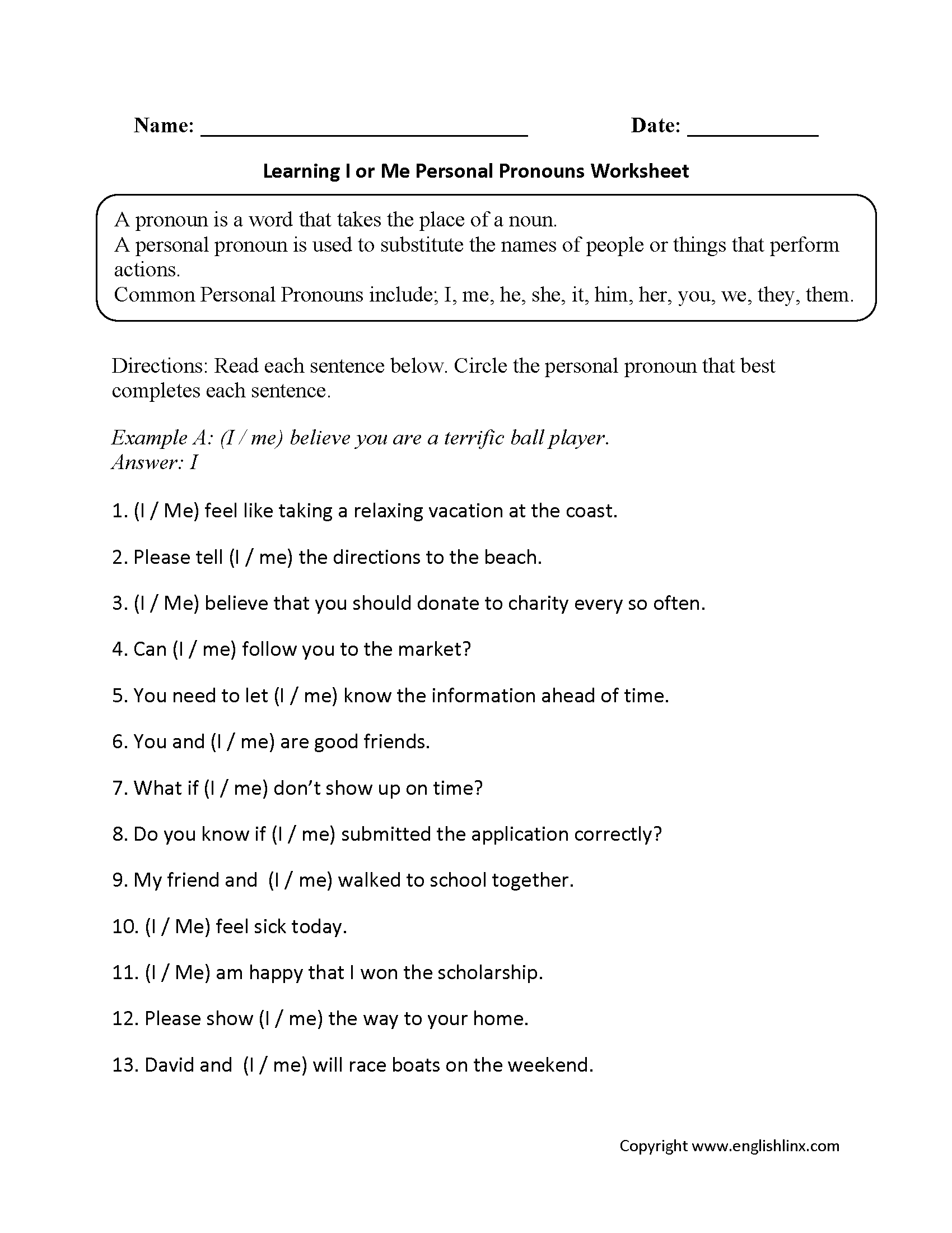 Regular Pronouns Worksheets | I or Me Personal Pronoun Worksheet