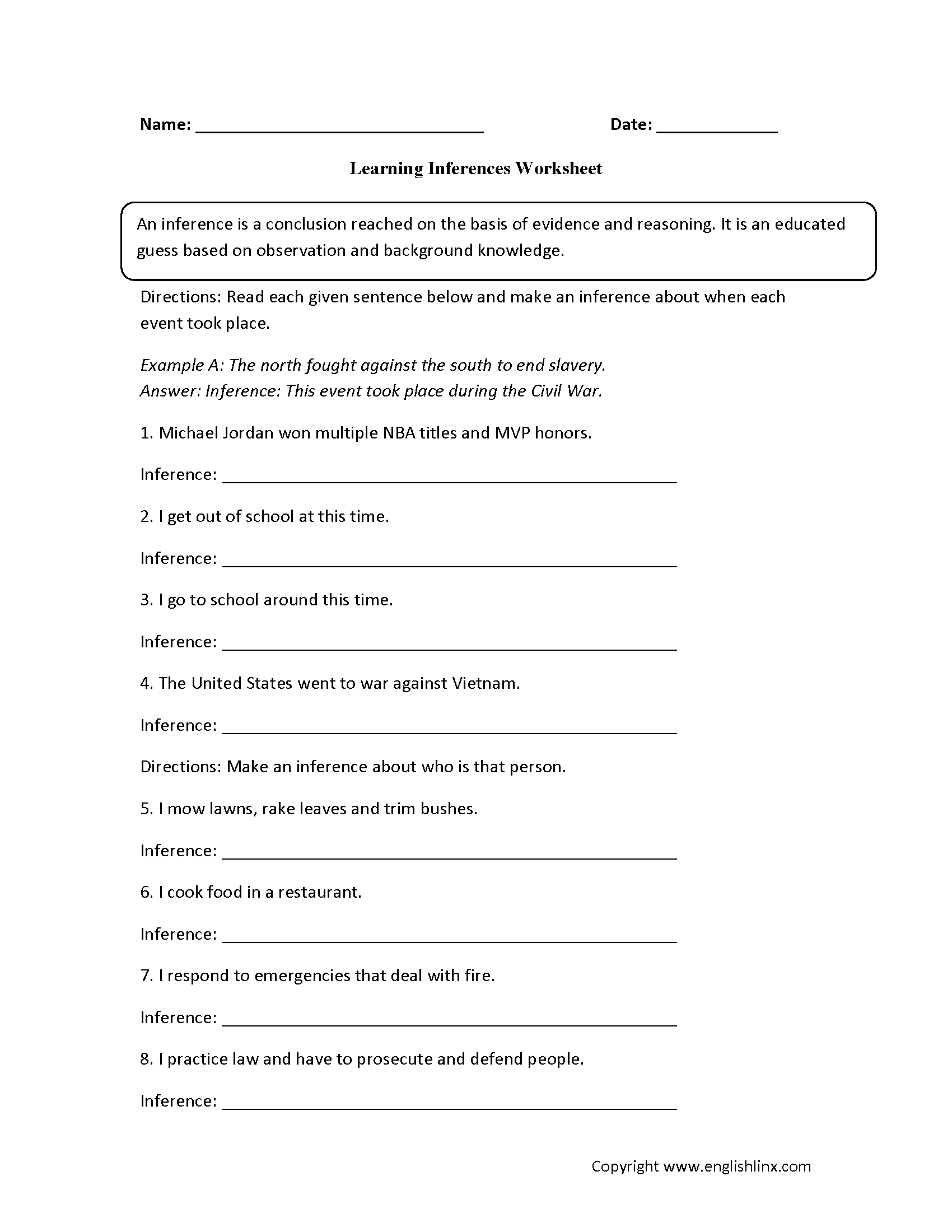 Reading Worksheets Inference