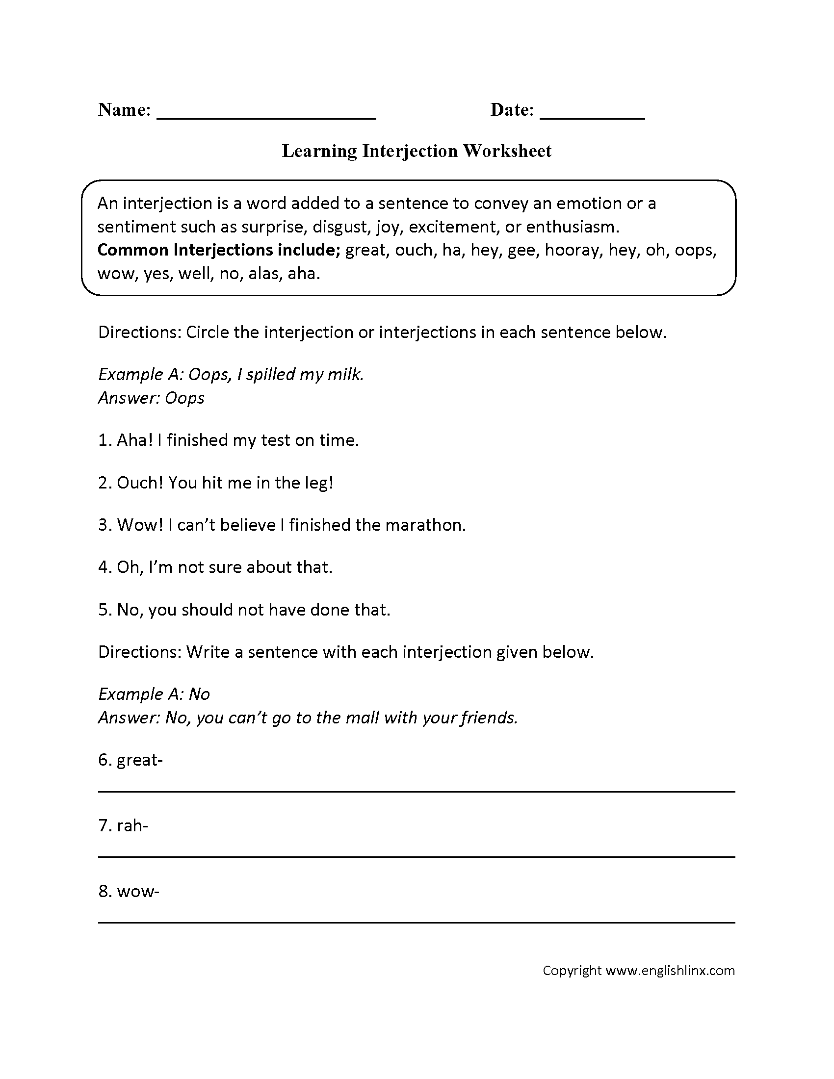 Worksheets Interjections Worksheet parts speech worksheets interjection intermediate worksheets
