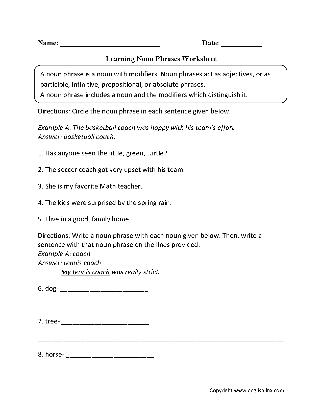 Nouns Worksheets – Infinitive Worksheets
