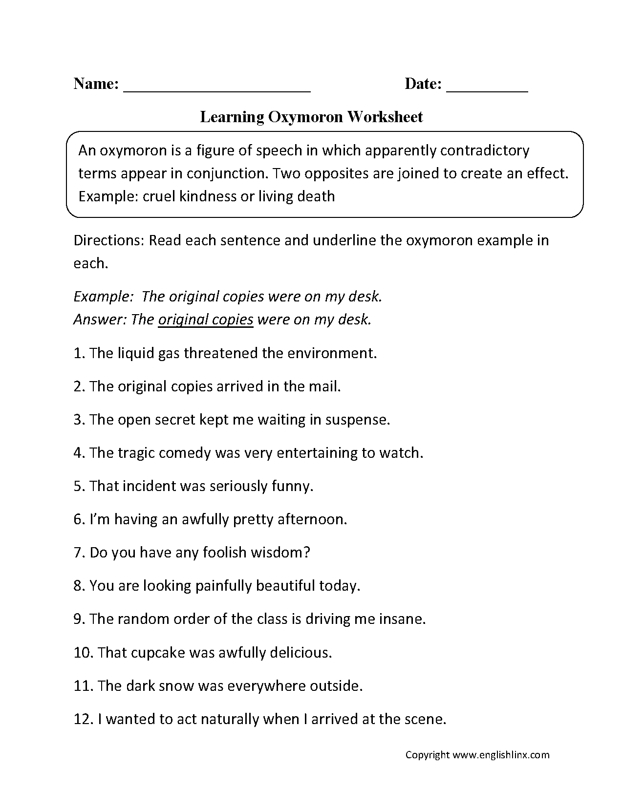 worksheet Oxymoron Worksheet figurative language worksheets oxymoron learning worksheet onomatopoeia sounds worksheet