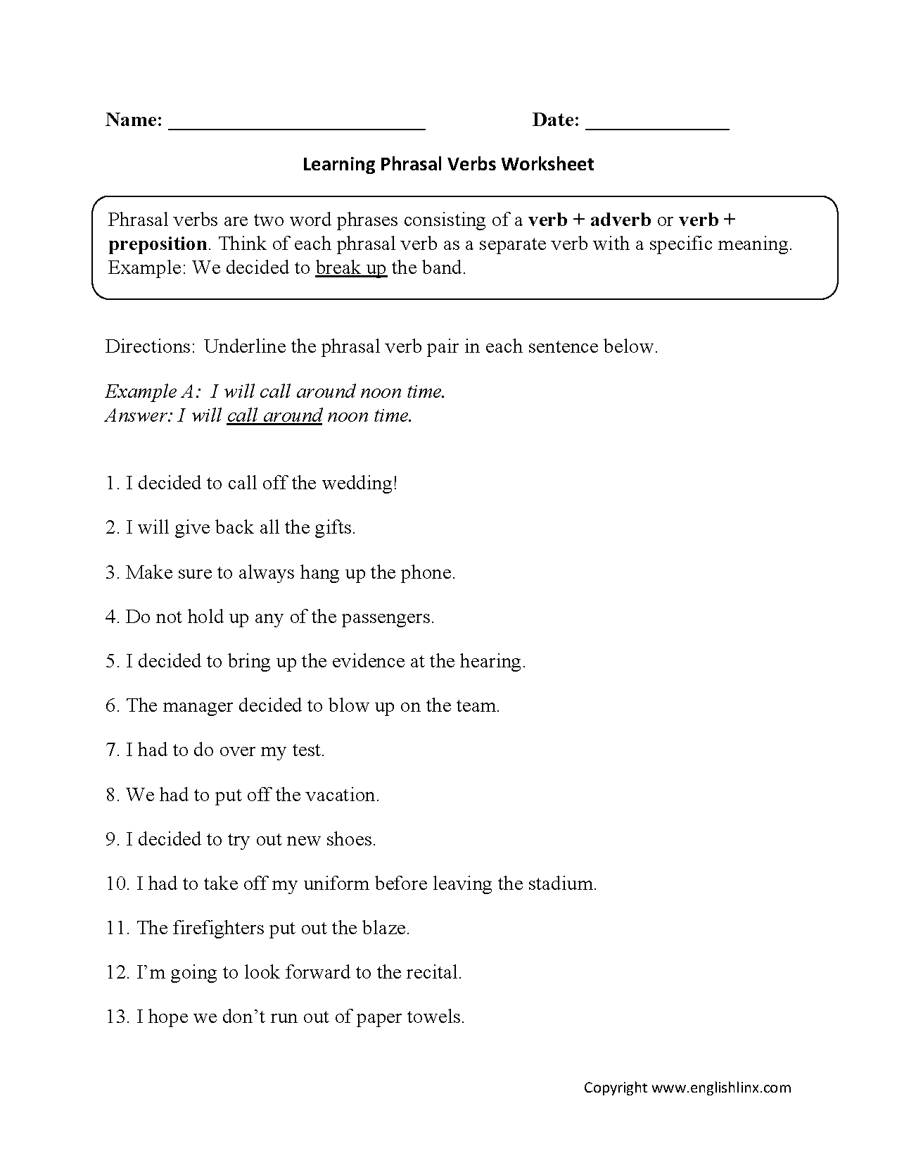 Worksheets Parts Of Speech Worksheets High School englishlinx com verbs worksheets phrasal worksheets