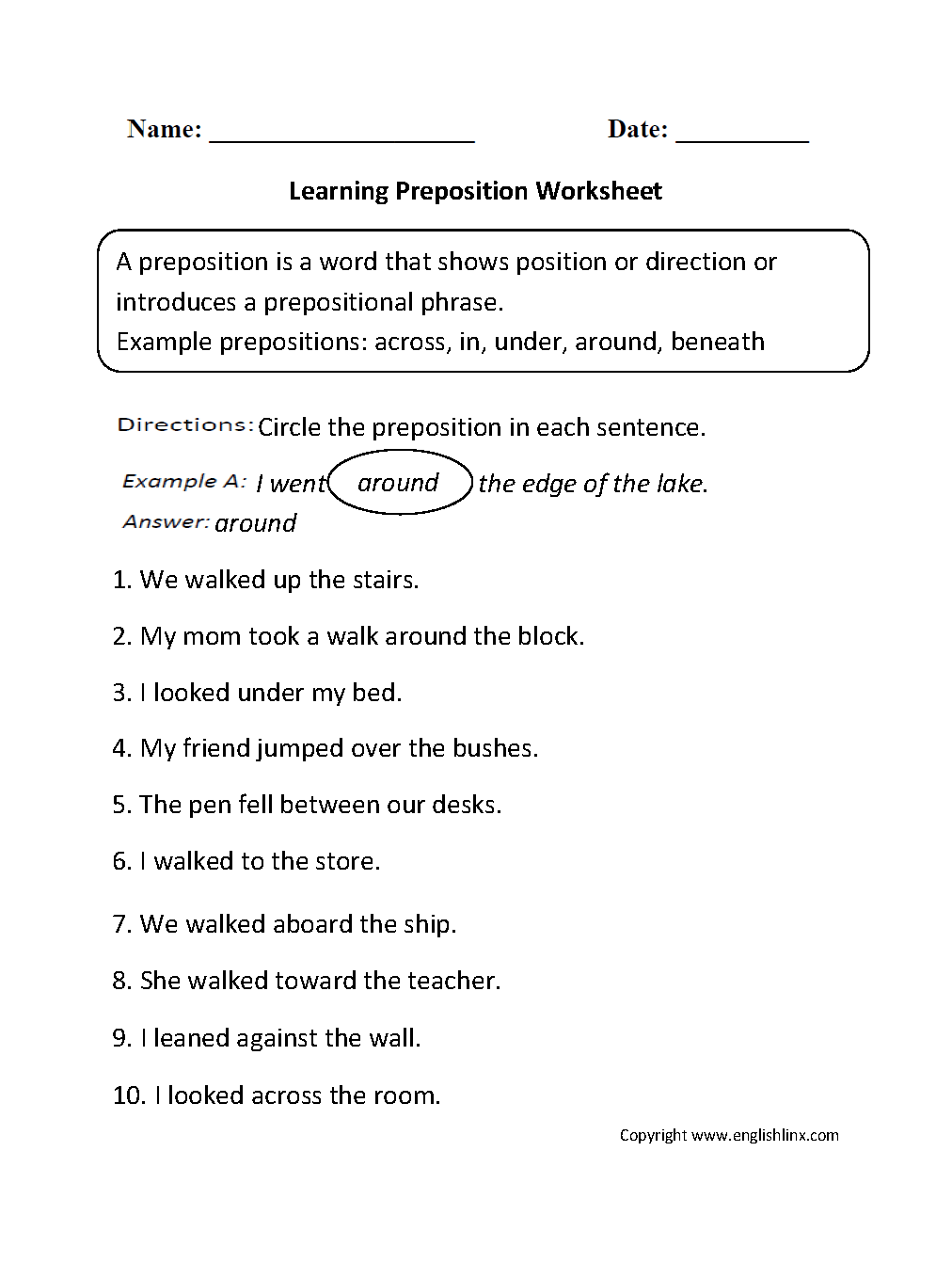 Worksheets Preposition Worksheet parts speech worksheets preposition worksheet