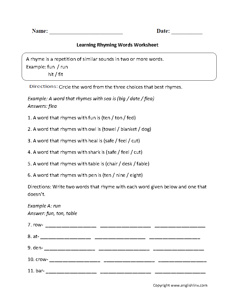 Worksheets Example Of Rhyming Words In Sentence rhyming worksheets learning words worksheet worksheet
