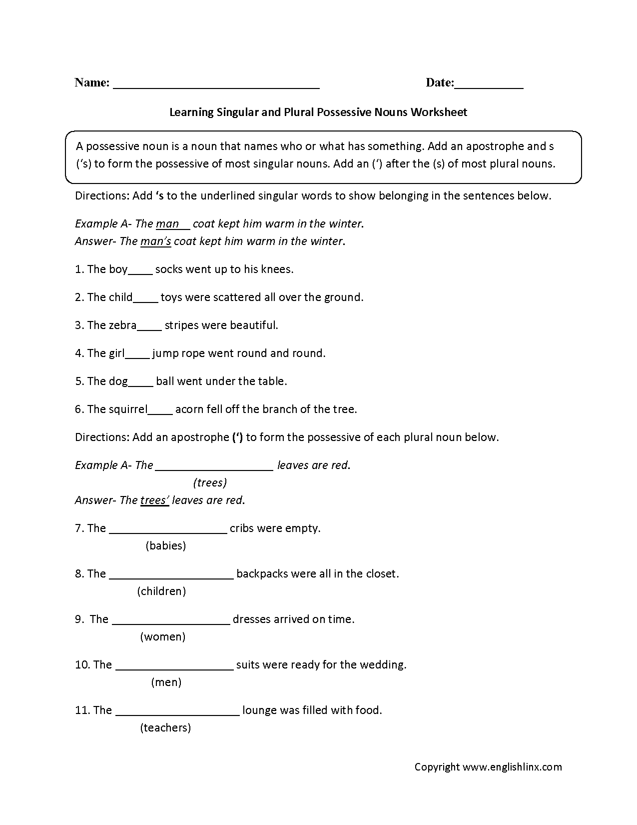 Possessive Nouns Worksheets Learning Singular And Plural