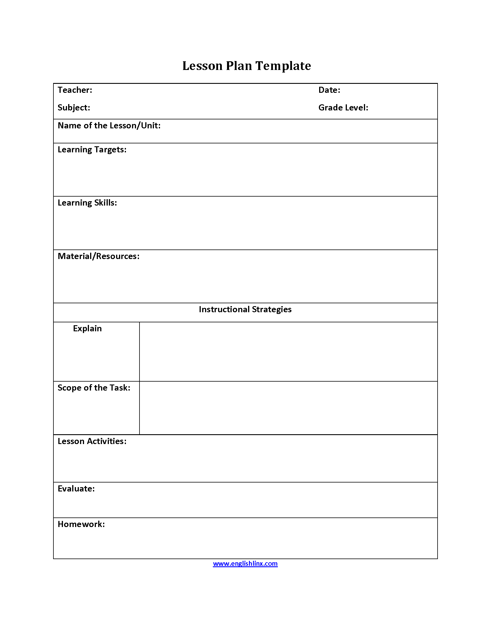 Lesson Plans Template | Englishlinx Com Lesson Plan Template