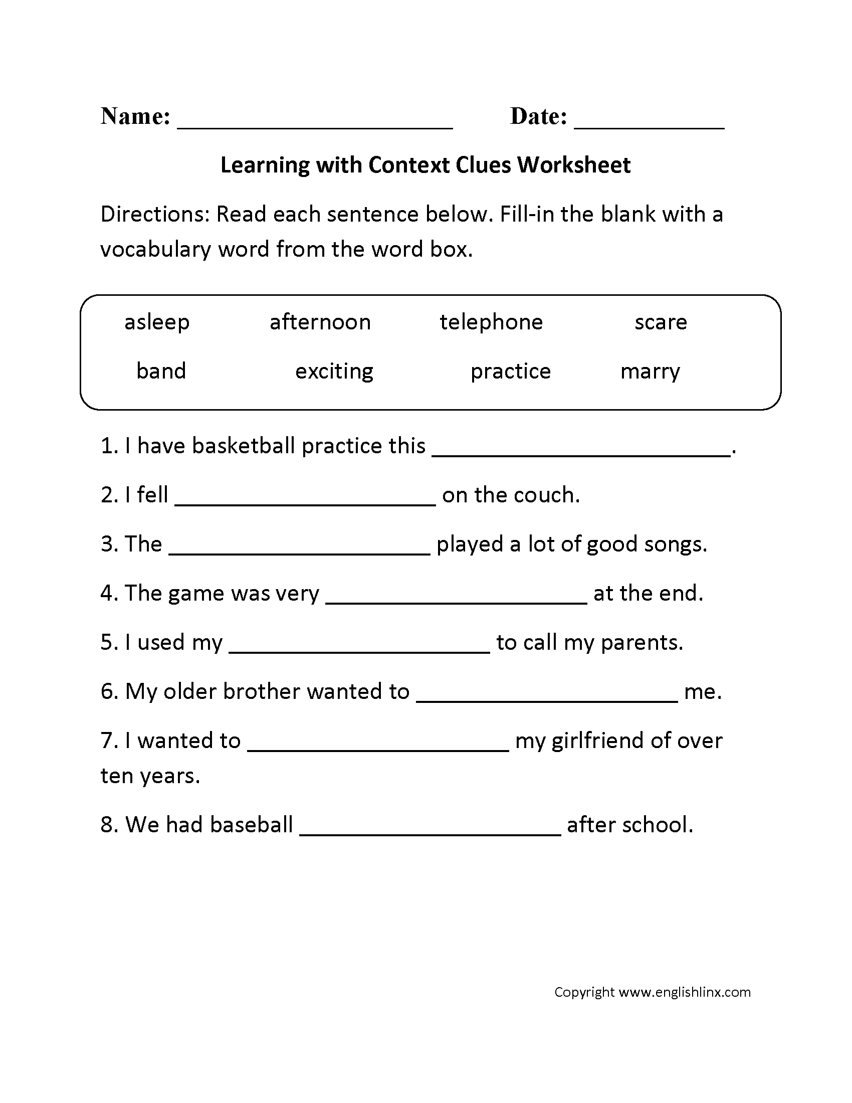 Vocabulary In Context Worksheet Davezan – Context Clues Worksheets Multiple Choice