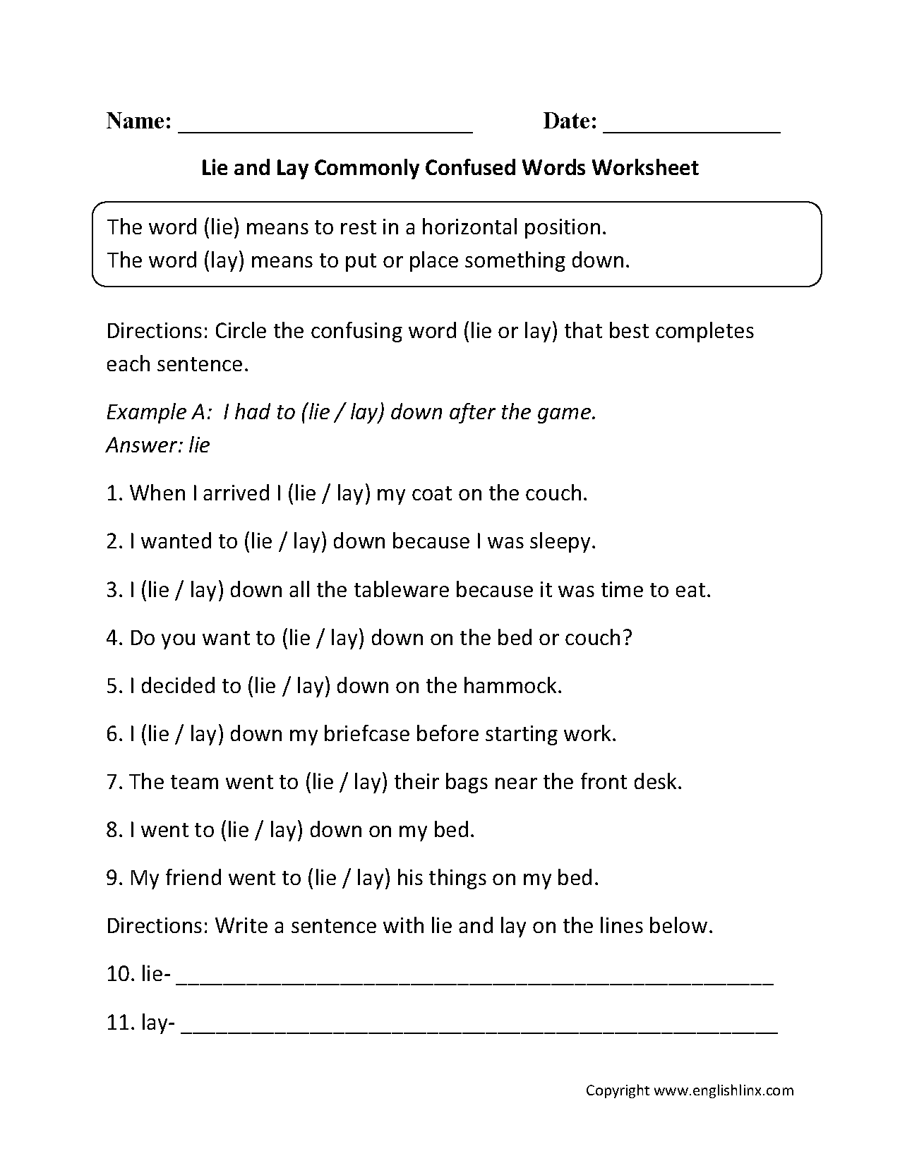 lay vs lie worksheet