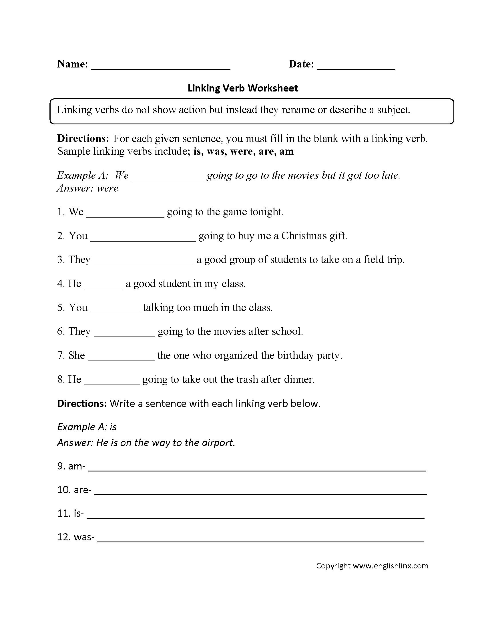 Worksheets Linking Verb Worksheets parts speech worksheets verb linking worksheet