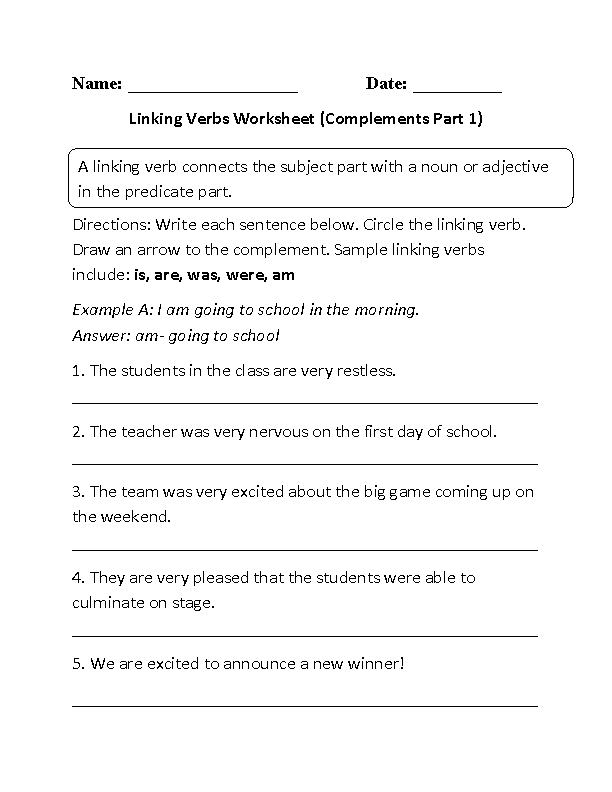 Linking Verbs Worksheets | Linking Verb and Complements Worksheet