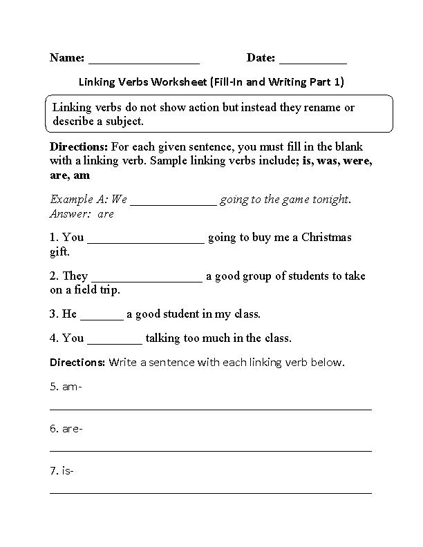 Verbs Worksheets Linking Verbs Worksheets