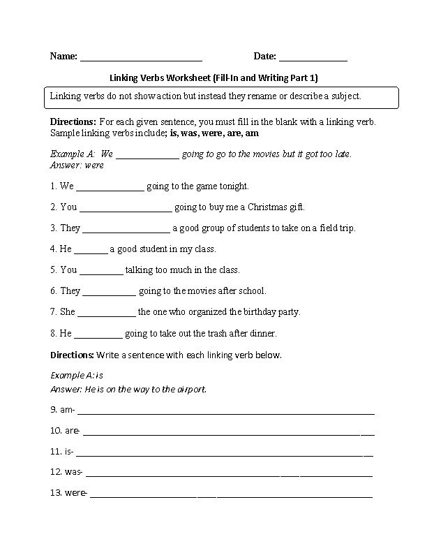 Verbs Worksheets | Linking Verbs Worksheets