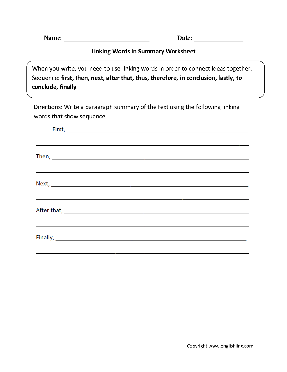 worksheet Summary Worksheet writing worksheets linking words in summary worksheet