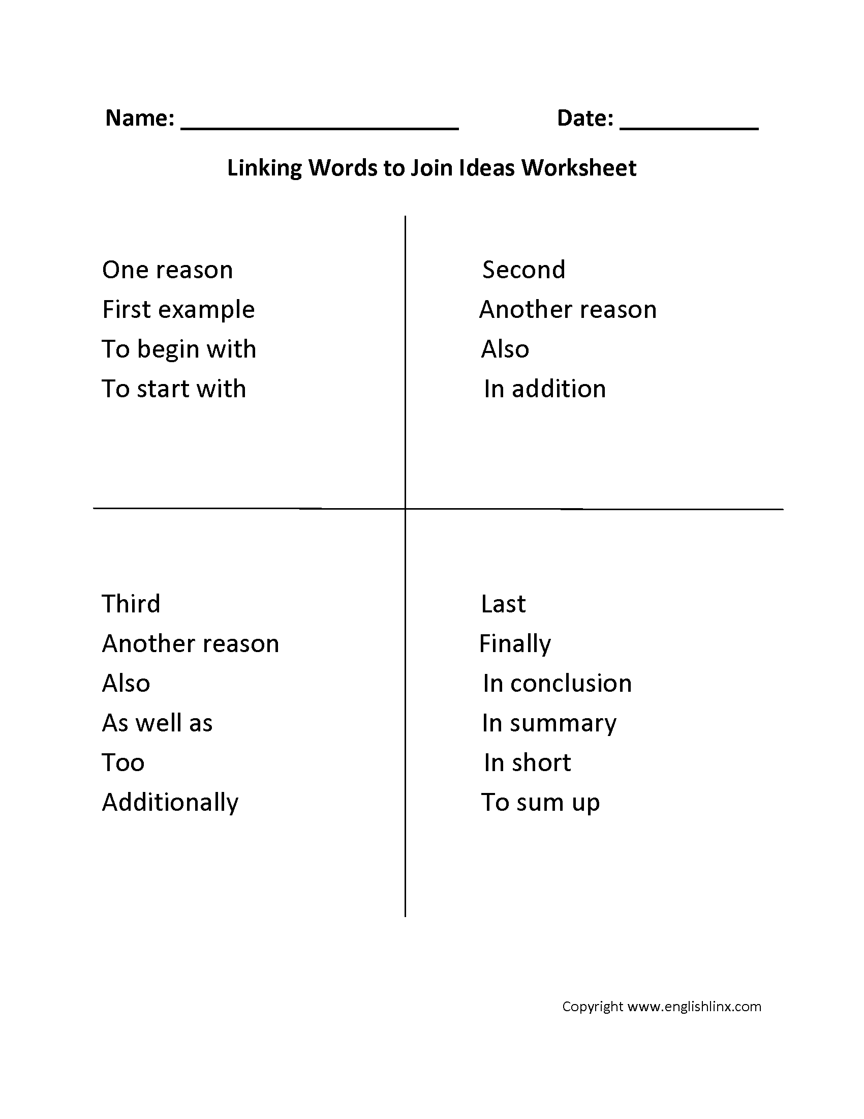 Cohesion: linking words and phrases