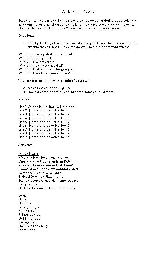 Poetry Worksheets | List Poem Template Worksheet