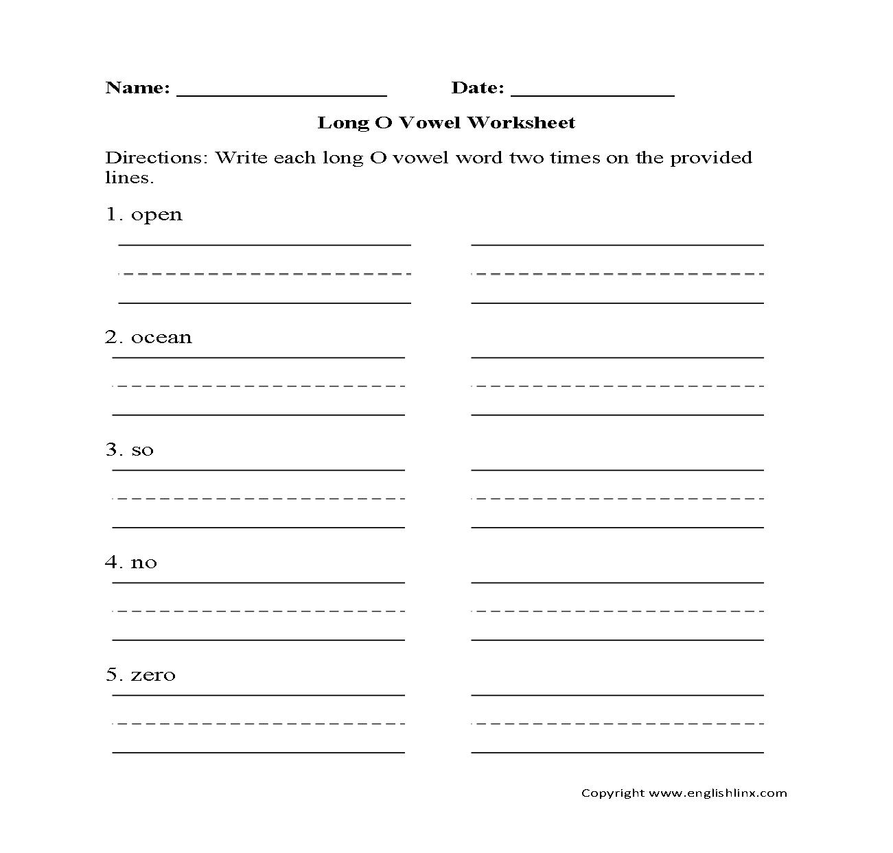 Vowel Worksheets – Long O Worksheets