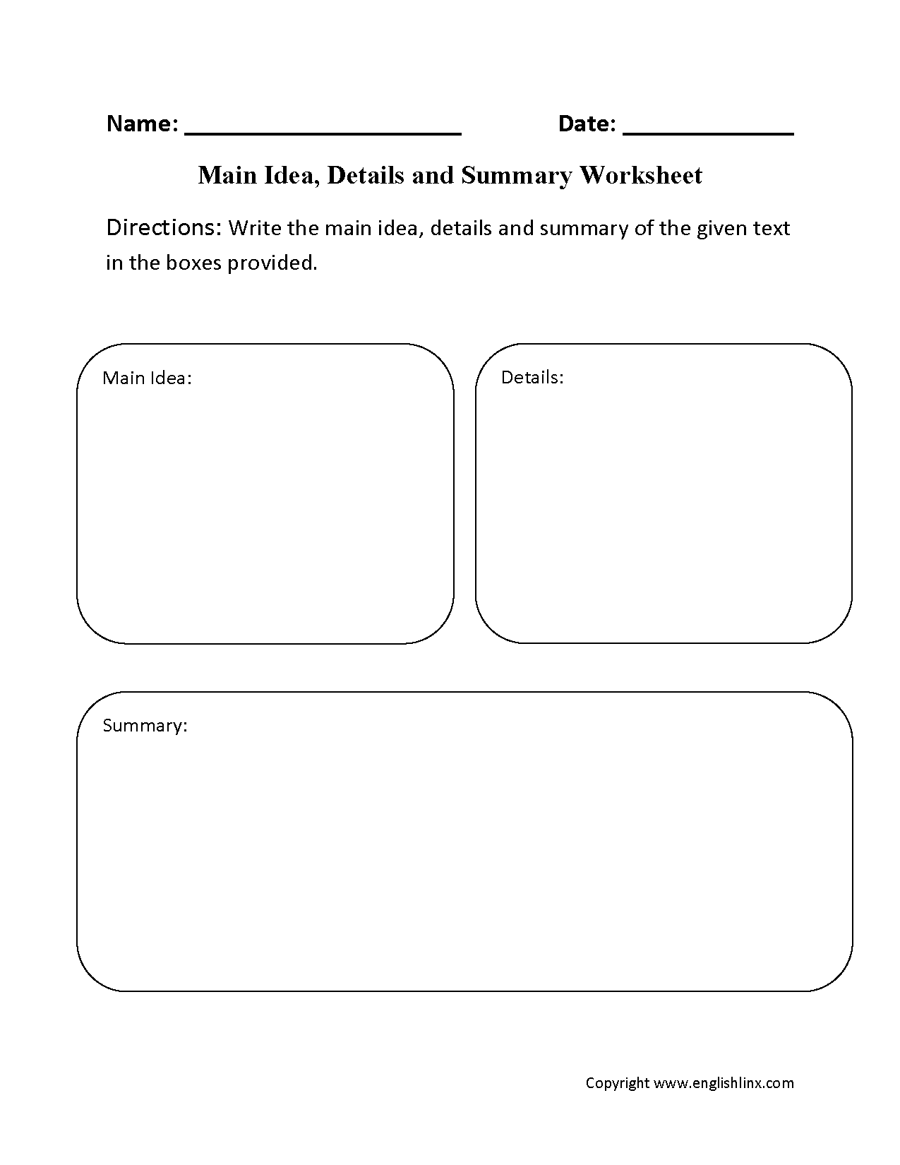 Reading Worksheets – Main Idea Worksheets 3rd Grade