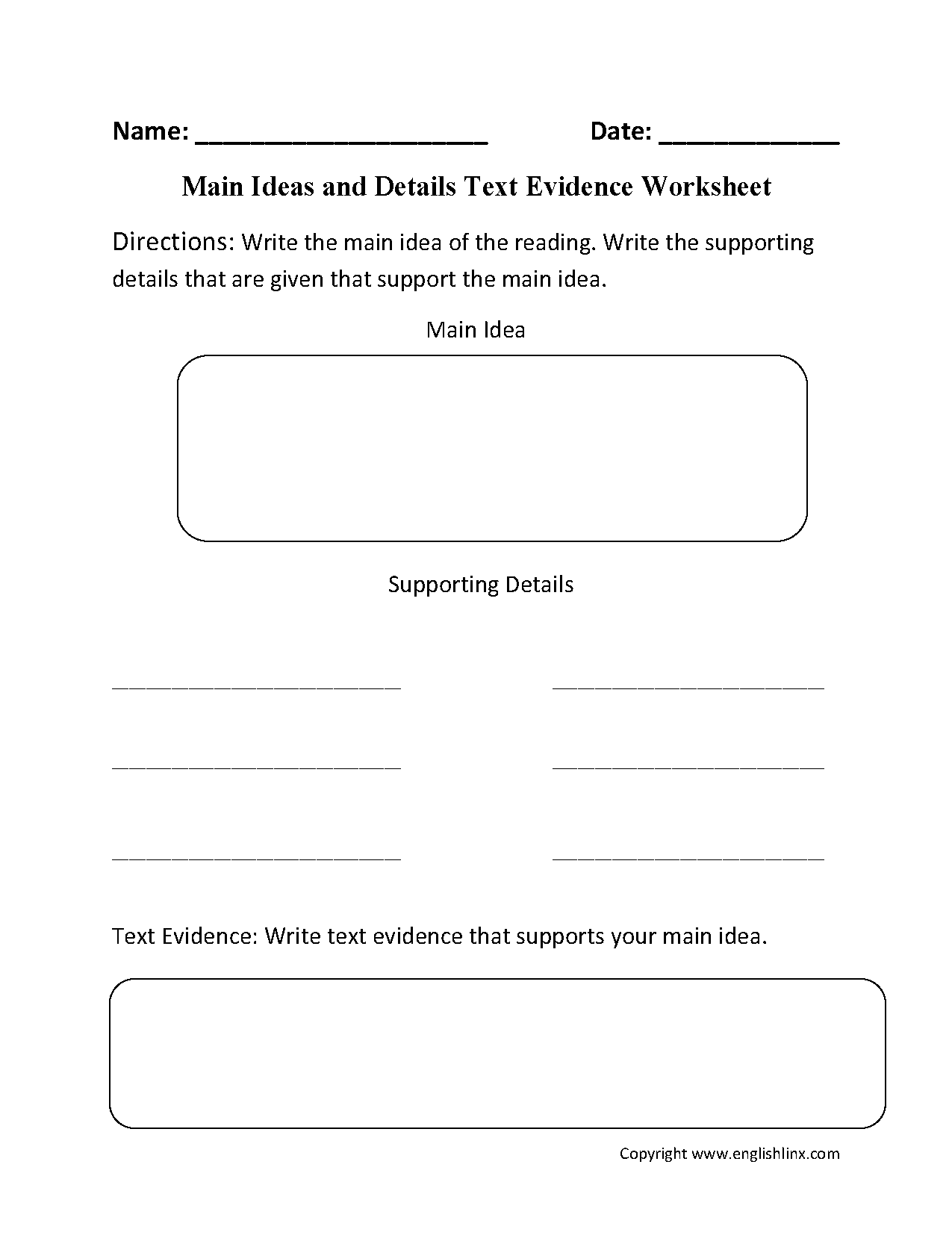 Worksheets Main Idea And Supporting Details Worksheets 4th Grade reading worksheets main idea text evidence worksheet