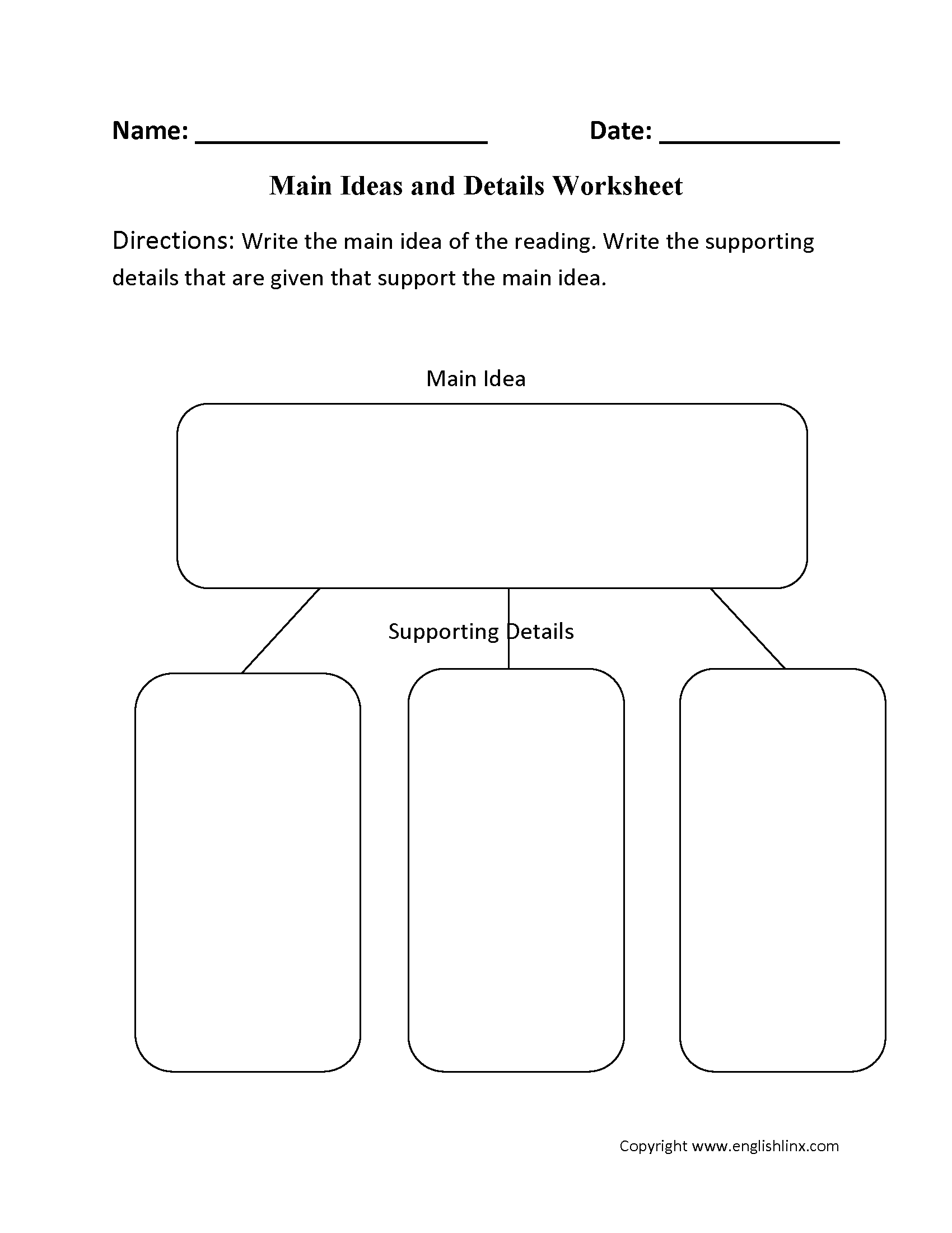 Reading Worksheets – Main Idea Worksheets 4th Grade