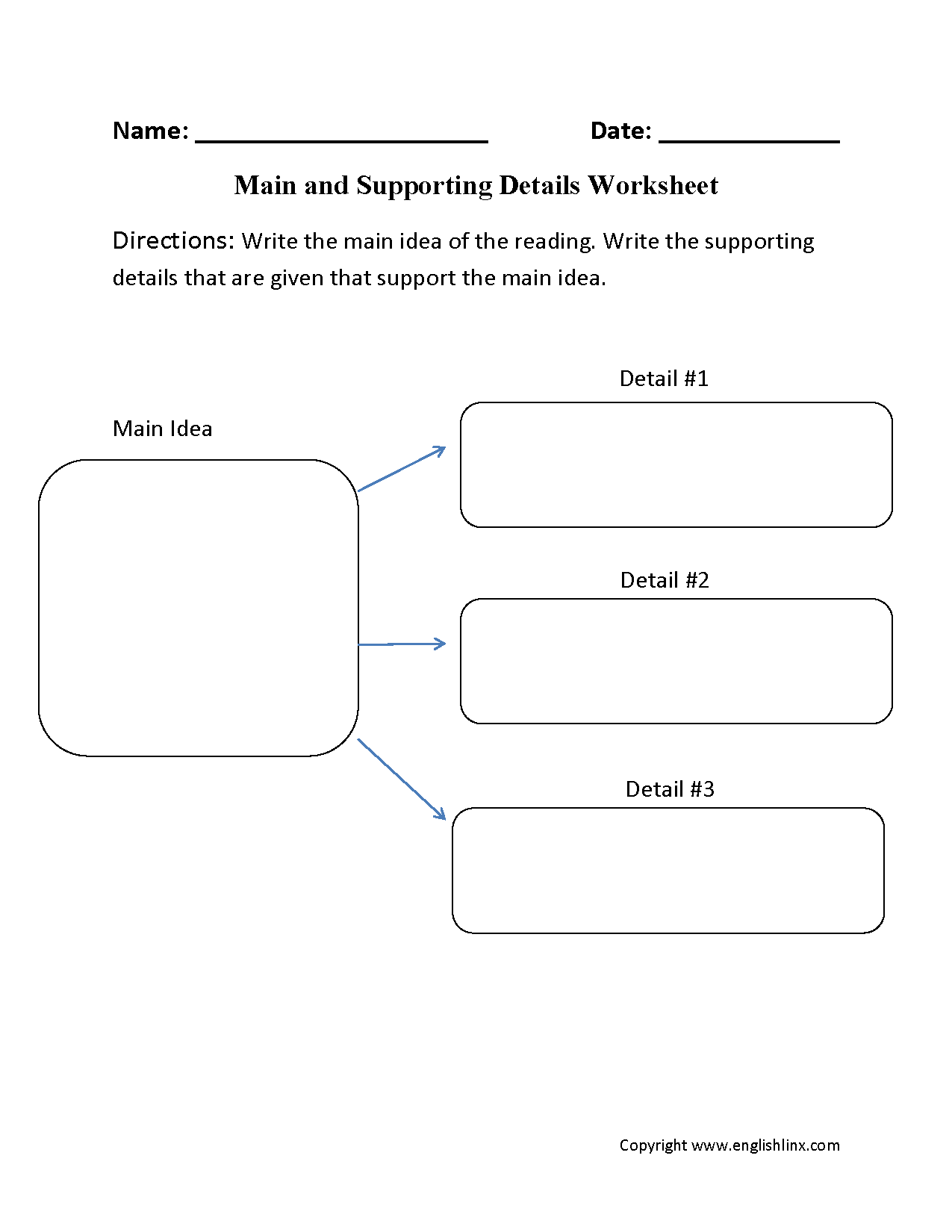 Reading Worksheets – Main Idea and Details Worksheets