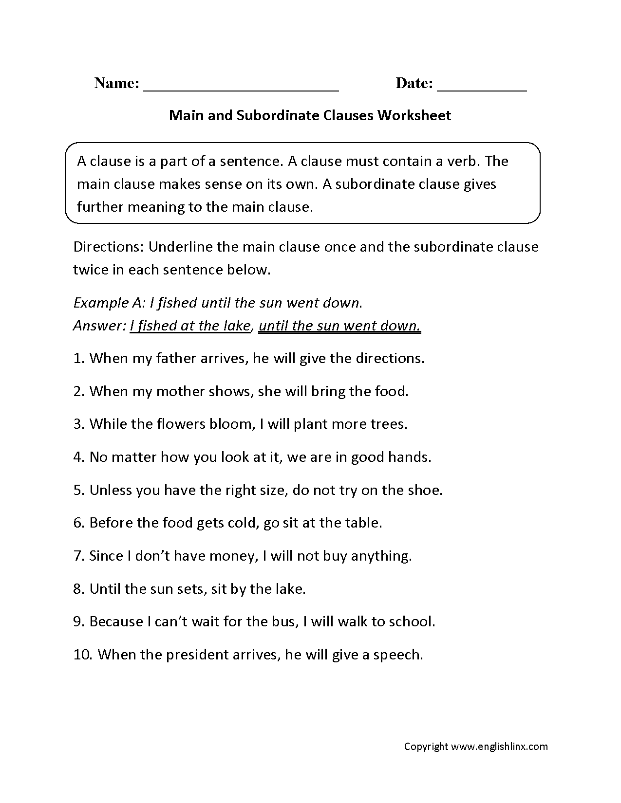 {Clauses Worksheets – Subordinate Clauses Worksheet
