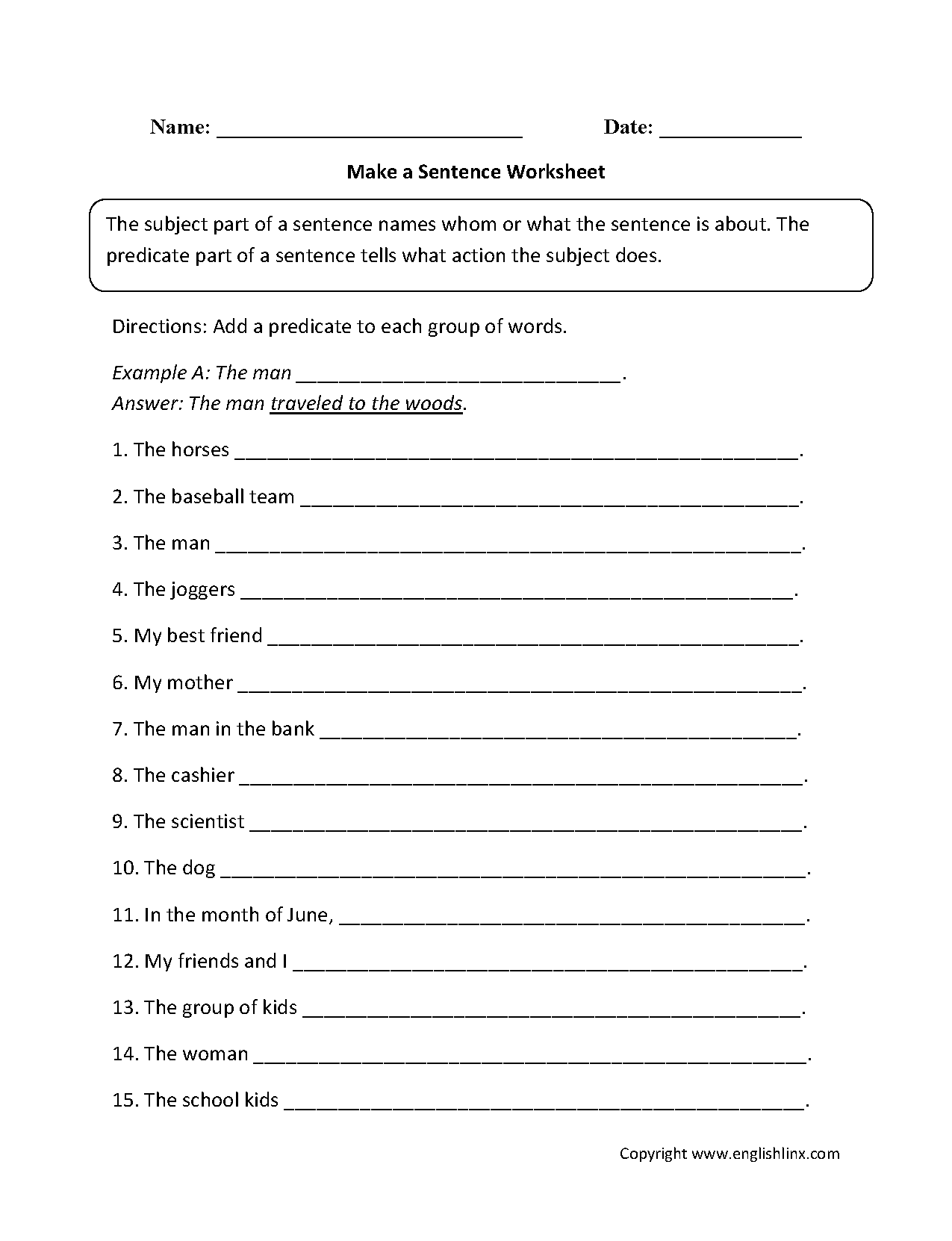 Sentence Structure Worksheets | Sentence Building Worksheets