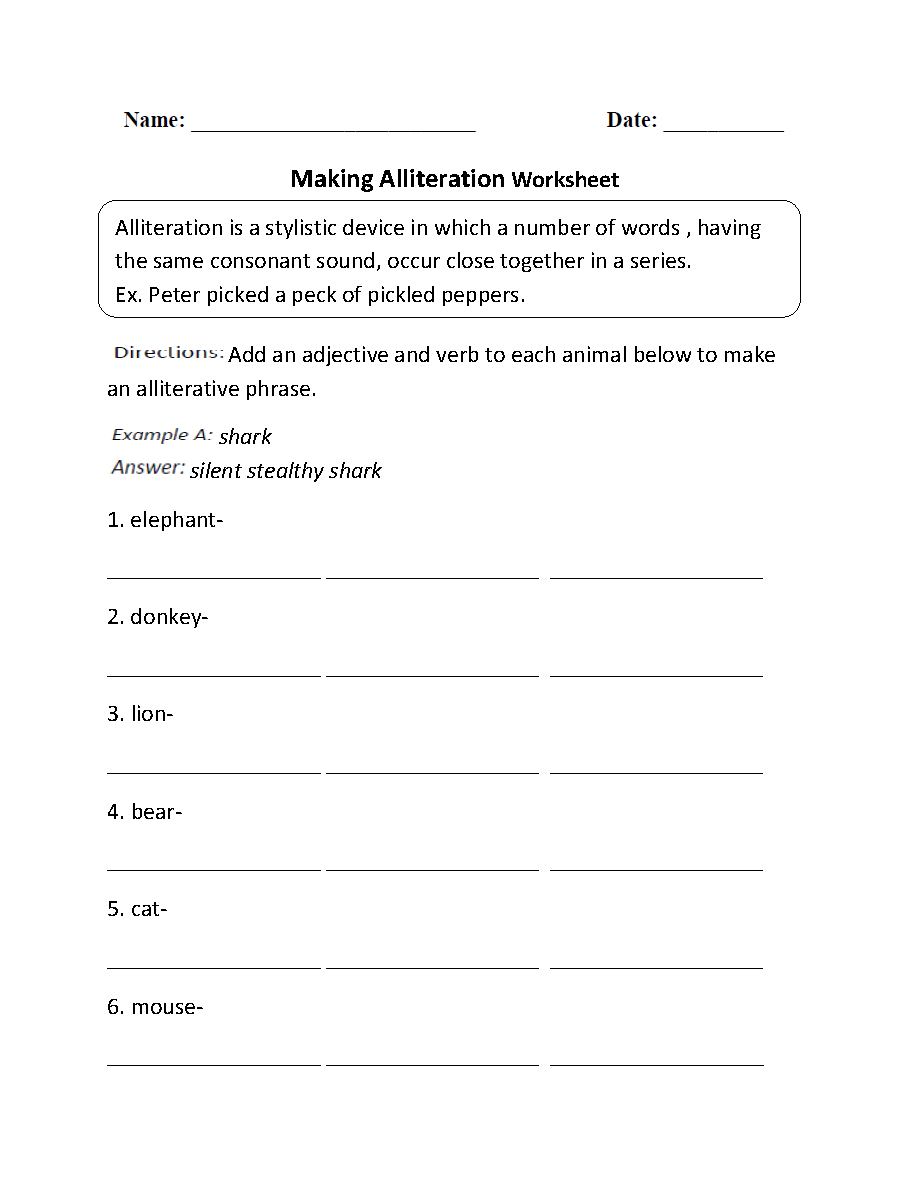 Worksheets Alliteration Worksheet englishlinx com alliteration worksheets