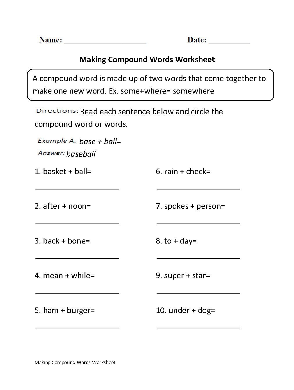 Worksheet Kindergarten Compound Words compound words worksheets making worksheet worksheet