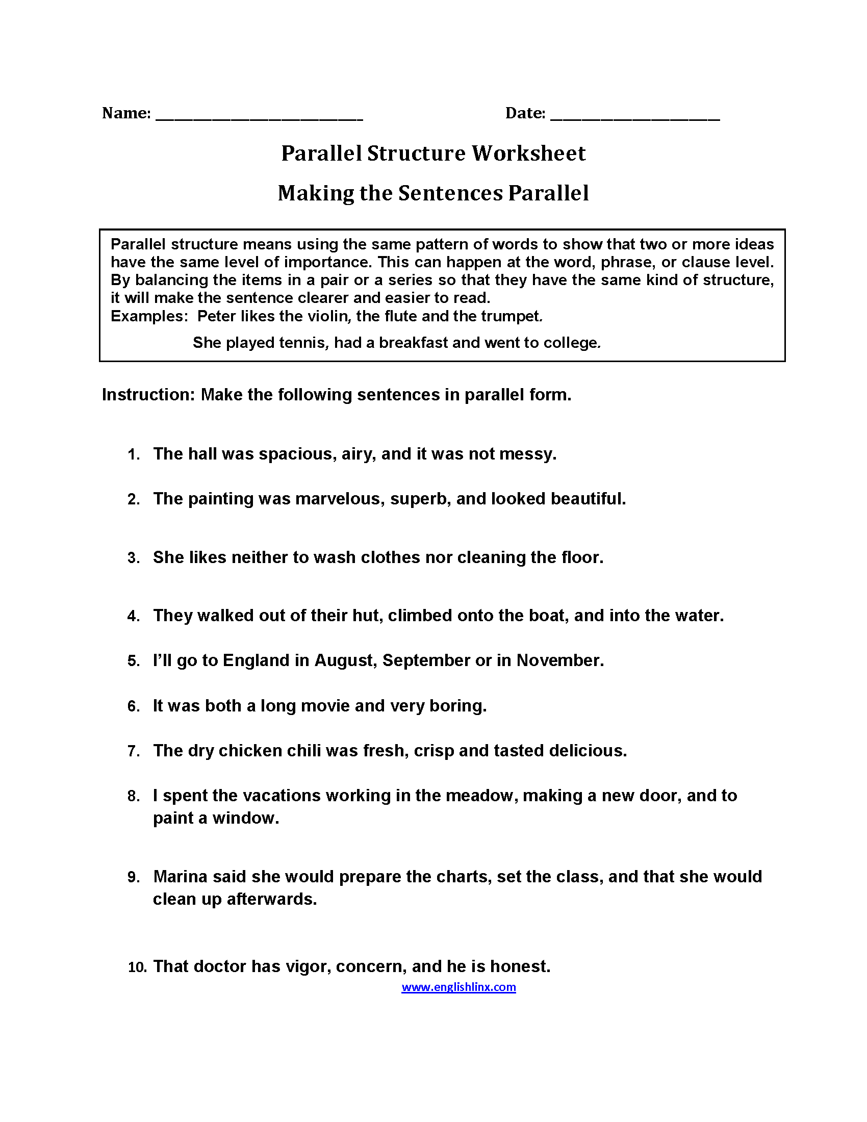 Parallel Structure Worksheets | Making Sentences Parallel ...