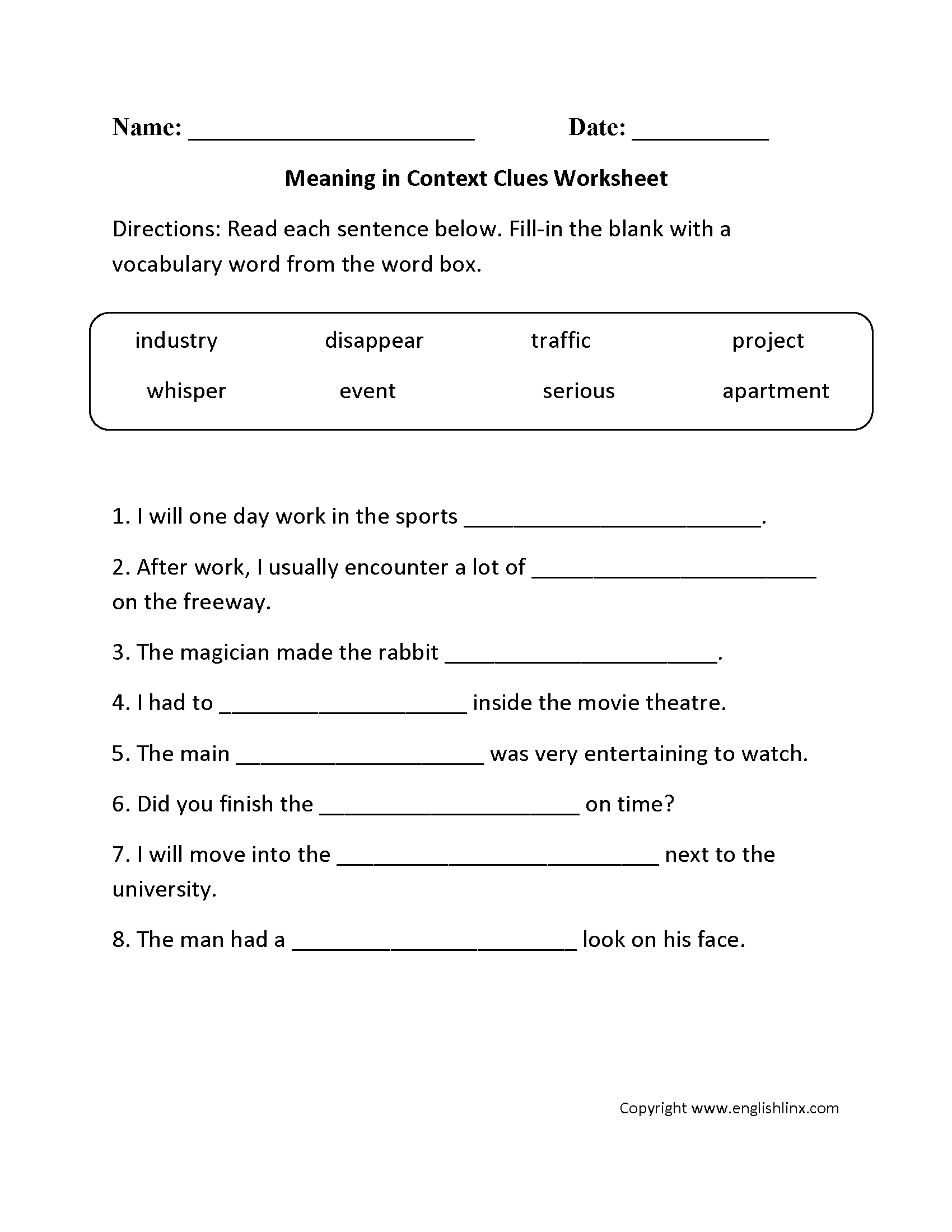 Context clue worksheets for 2nd grade