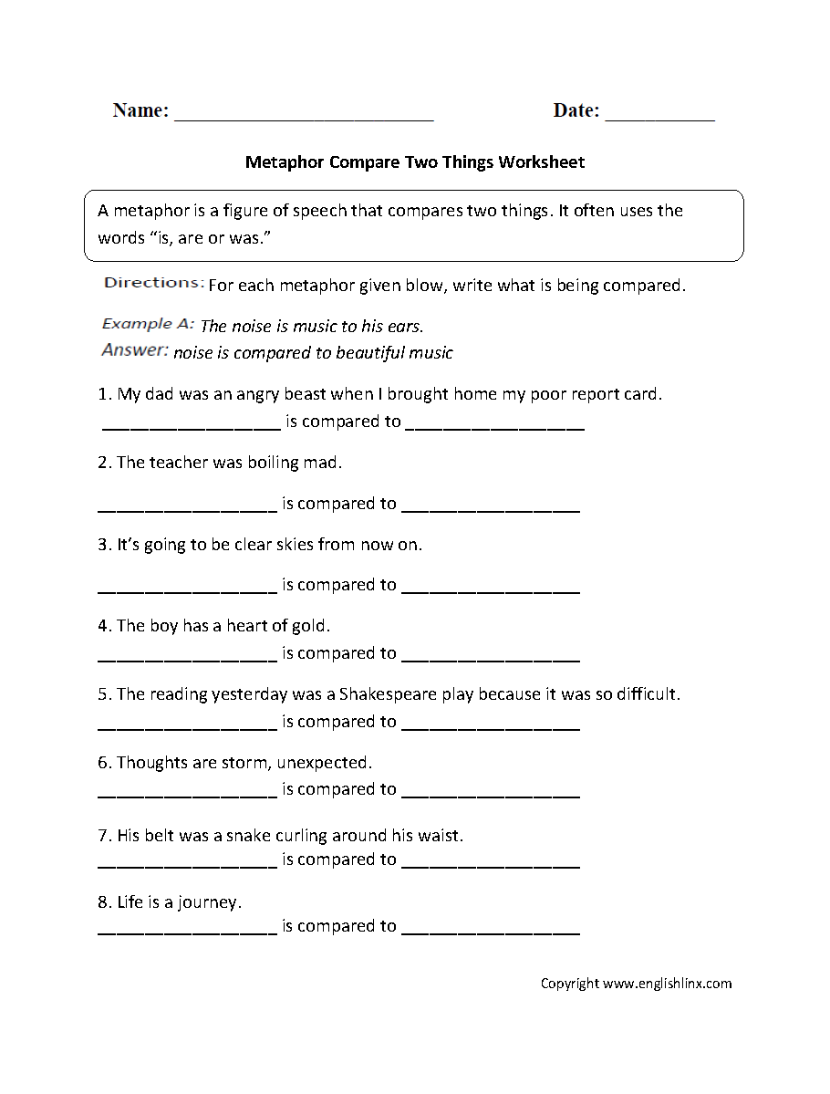 worksheet Metaphors Worksheets figurative language worksheets metaphor metaphors compare two things worksheet