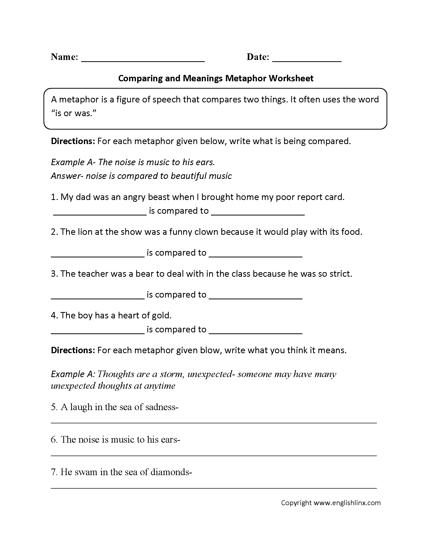 Worksheets Parts Of Speech Worksheets Middle School englishlinx com metaphors worksheets metaphor worksheet