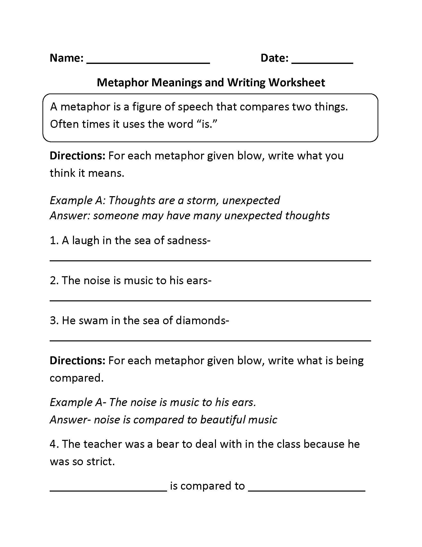 Worksheets Metaphor And Simile Worksheet englishlinx com metaphors worksheets worksheet