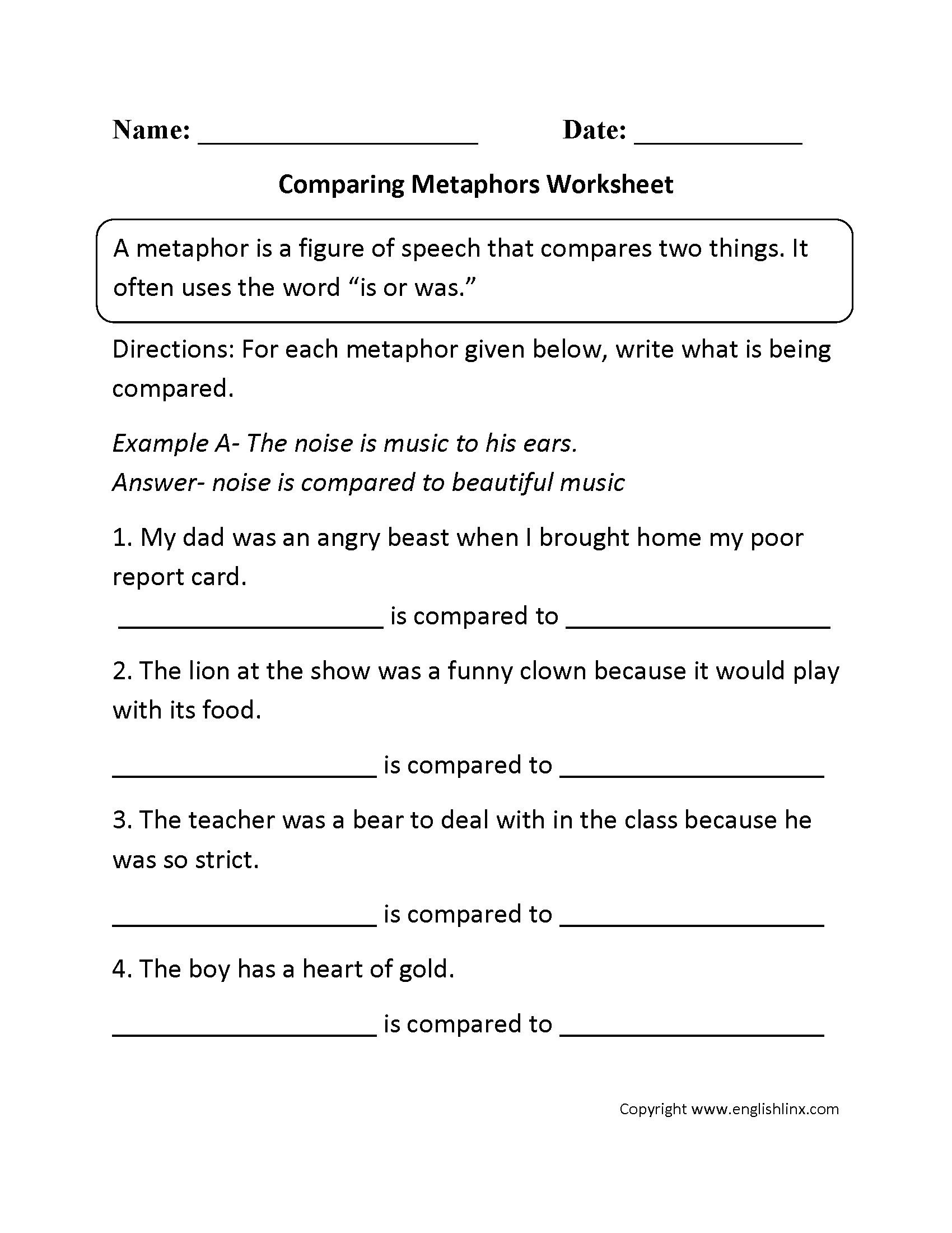Englishlinx metaphors worksheets comparing metaphors worksheet robcynllc Images